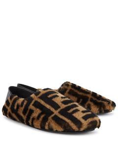 FF logo shearling slippers