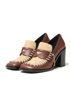 Leather Stitched Heeled loafers