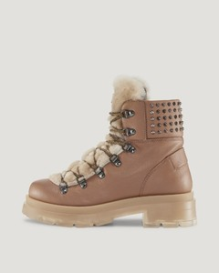Swansea Shearling lace-up boots in Beige