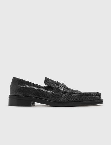 Snake-embossed Leather Loafer