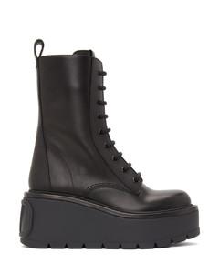 黑色Valentino Garavani VLogo中筒靴