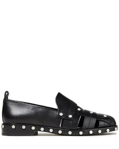 Woman Alexa Studded Woven Leather Loafers