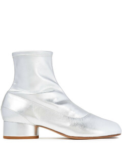 Woman Metallic Faux Stretch-leather Sock Boots