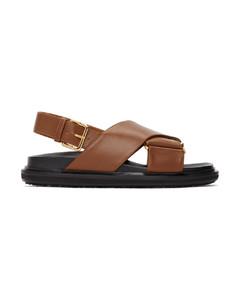 棕色Fussbett凉鞋