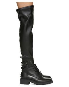 黑色Valentino Garavani Rockstud高筒靴