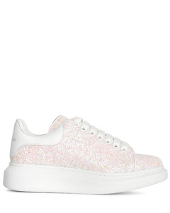 White glitter classic leather sneakers