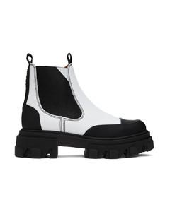 白色&黑色趾帽切尔西靴