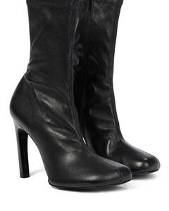 皮革短袜式高跟鞋