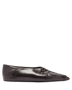 Point-toe leather flats