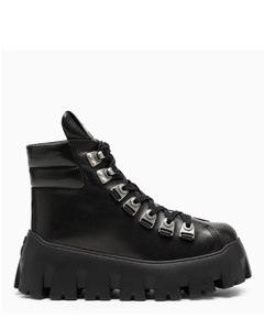 Black leather oversized lace-up boots