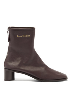 Bertine back-zip stretch-leather ankle boots