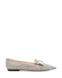 bow-detail glitter-effect ballerina shoes