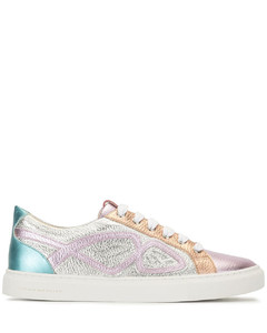 metallic-tone lace-up trainers
