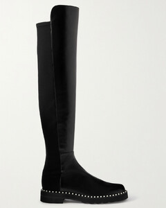 5050 Lift Faux Pearl-embellished Leather And Neoprene Over-the-knee Boots
