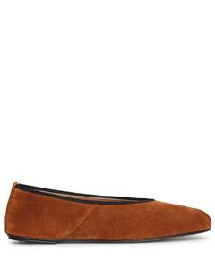 Ballet slipper brown suede