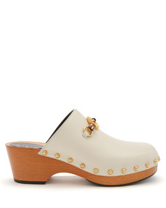 Bamboo-buckle leather clogs