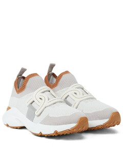 皮革边饰针织运动鞋