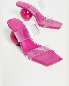 Woody shearling-trim canvas mules