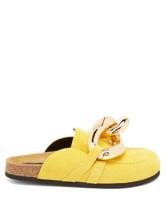 Chain backless suede loafers