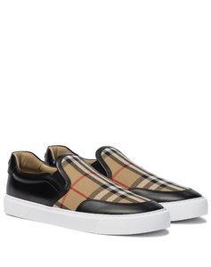 Vintage Check皮革和帆布运动鞋