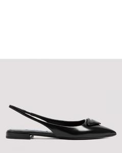 Brushed leather slingback ballerinas