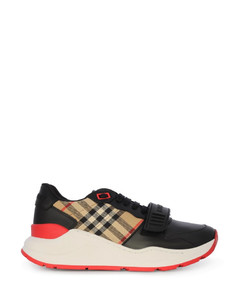 check-print sneakers