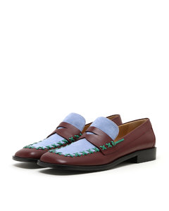 Flat Stitch leather loafers