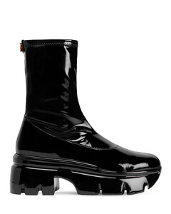 60mm Faux Patent Leather Ankle Boots