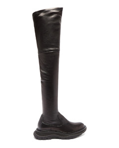 Tread leather over-the-knee boots