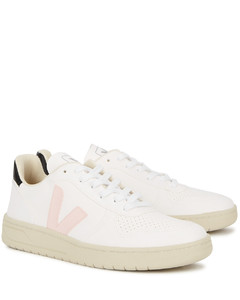 V-10 white faux leather sneakers