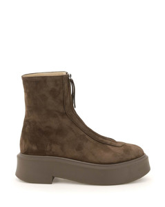 ZIPPED SUEDE LEATHER ANKLE BOOTS