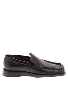 Nikki square-toe leather loafers