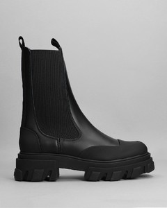 Cream leather knee-high boots