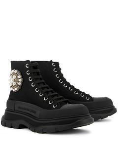 Tread Slick black embellished canvas hi-top sneakers