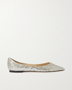 Love Glittered Leather Point-toe Flats