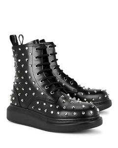 Hybrid black studded leather ankle boots