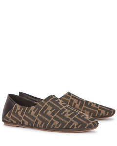 FF-jacquard canvas slippers