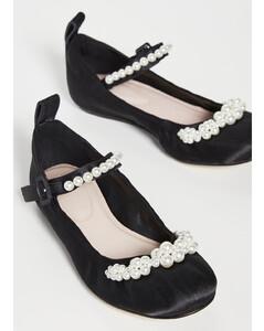 珠饰踝带圆头芭蕾舞平底鞋