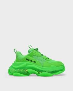 Triple S Clear Sole Sneakers in Fluo Green
