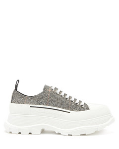 Tread Slick exaggerated-sole check canvas trainers