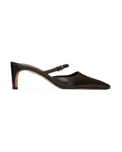棕色皮革玛丽珍鞋