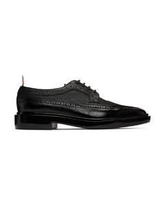黑色Dipped Longwing布洛克鞋