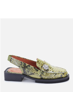 Women's Slingback Leather Mocassin Loafers - Olive Drab