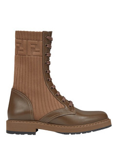 Brown leather biker boots with stretch fabric
