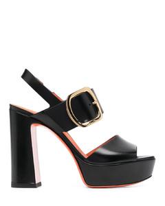 透明色粗跟夹趾凉鞋