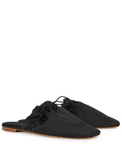 The Puff black satin slippers