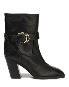 Woman Buckled Leather Ankle Boots