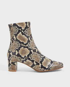 Sofia Snake-Print Leather Boots