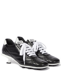 Leather sneaker pumps