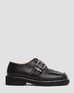 Embellished Leather Mocassin Shoes in Black